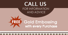 Call us | FREE GOld Embossing with every purchace!